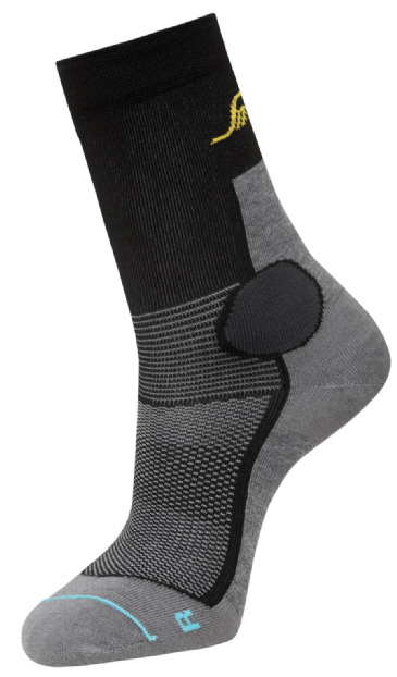 Snickers 9217 LiteWork 37.5® Mid Socks (Grey Melange/Black)
